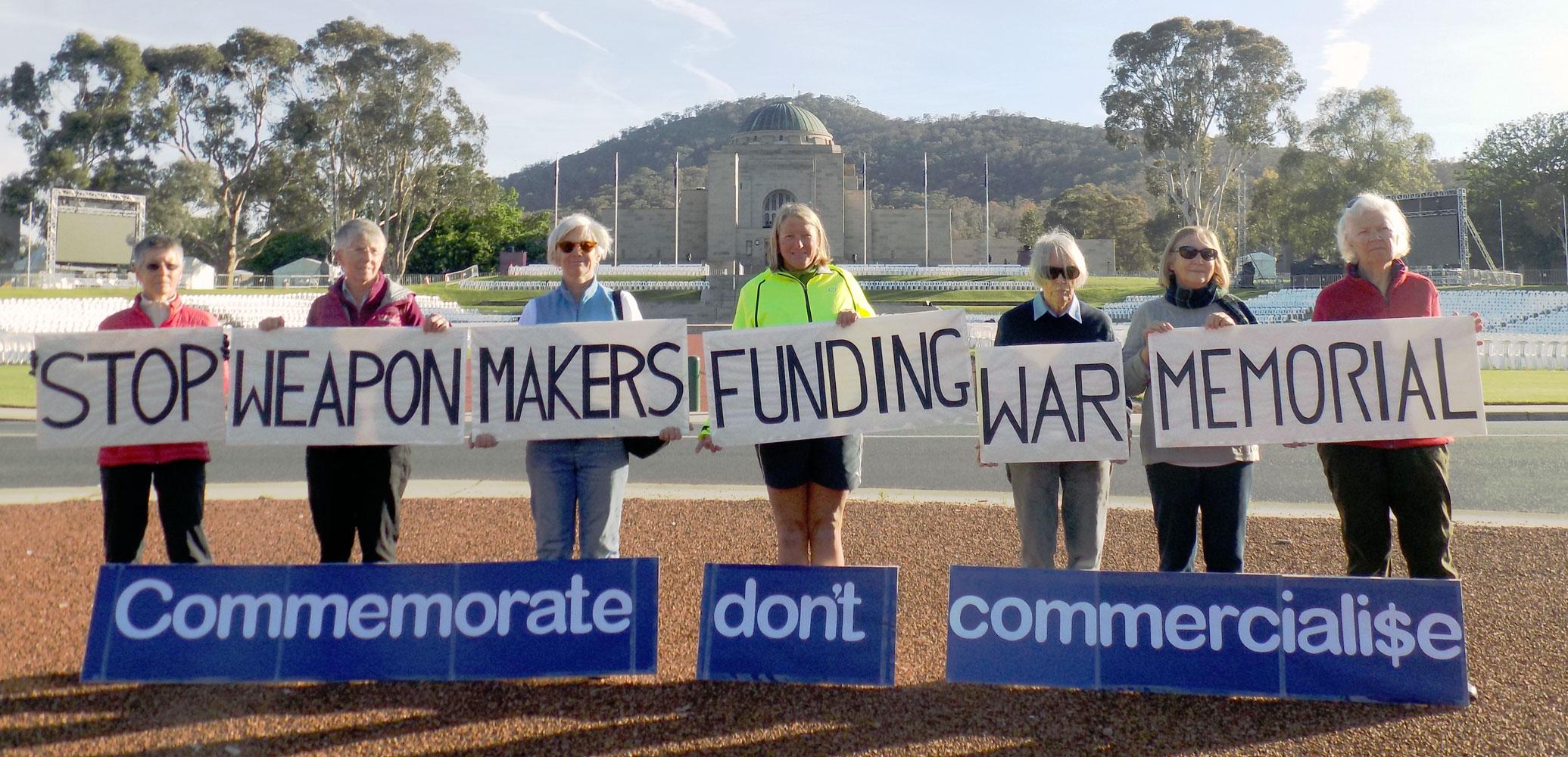 MAPW protesting at Australian War Memorial